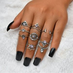 New! Women's Vintage Bohemian Mermaid 9pc Ring Set